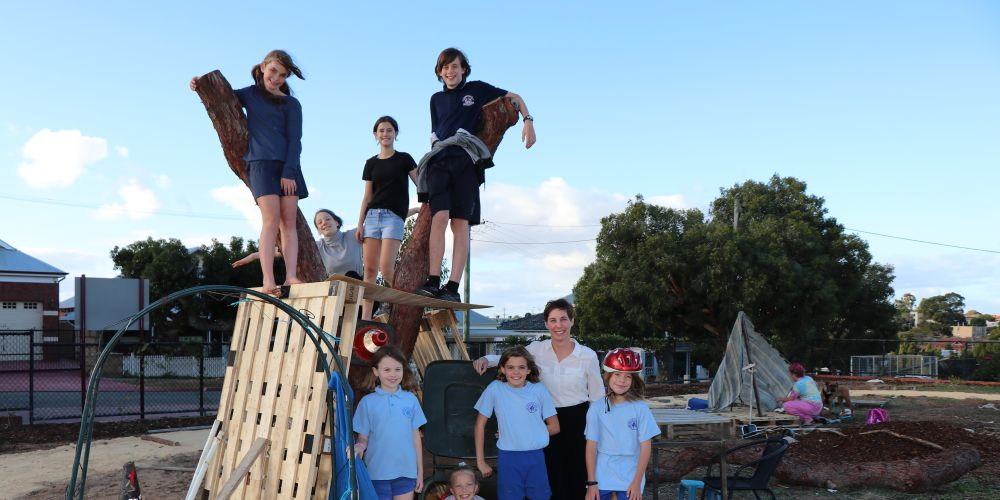 Vincent Mayor Emma Cole is joined by Catherine, Jazz, Ellie and Max (top row) with Saskia, Leah, Olivia and Billie (bottom row) at Woodville Reserve. Picture: Supplied.