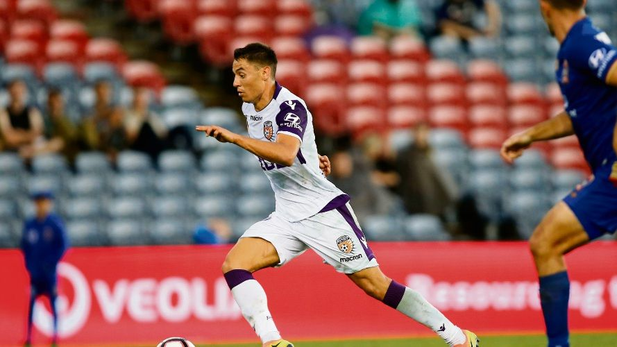 Chris Ikonomidis of Perth Glory in action. Picture: AAP