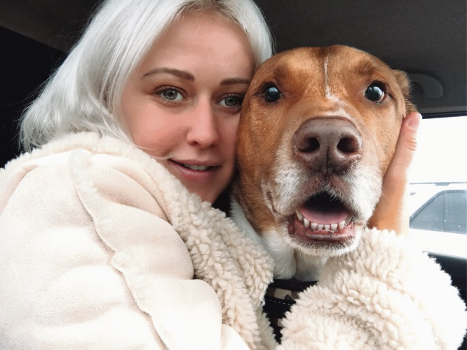 Holly Drage and her dog Boston.