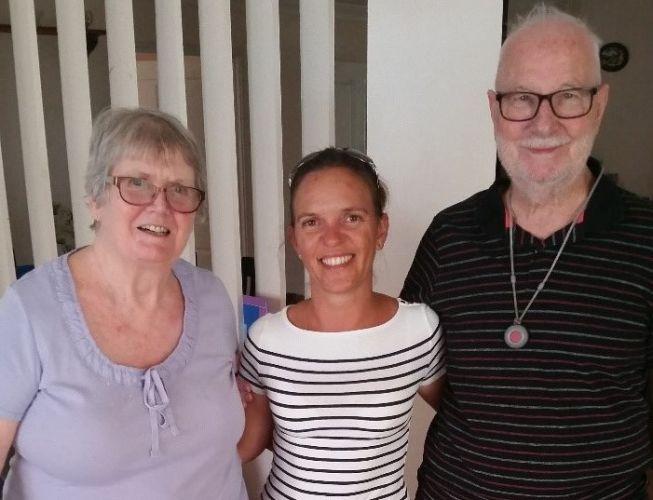 Sheila and Brian Furse, of Carramar, with Silver Chain volunteer Kate Rudman.