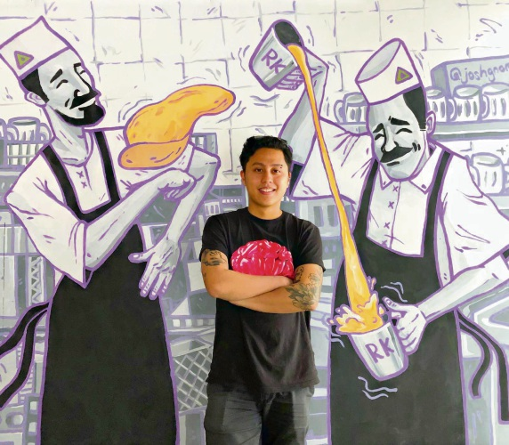 Artist Joshua Kane Gomes (@joshgnomes) has been busy creating artwork at Mt Hawthorn's new Roti Korner. Pic: Supplied.