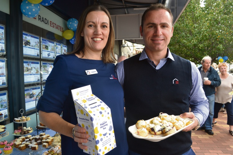 Tamara and Steven Radi from Radi Estates are holding their third Biggest Morning Tea to raise funds for the Cancer Council. Pic: Jessica Warriner.