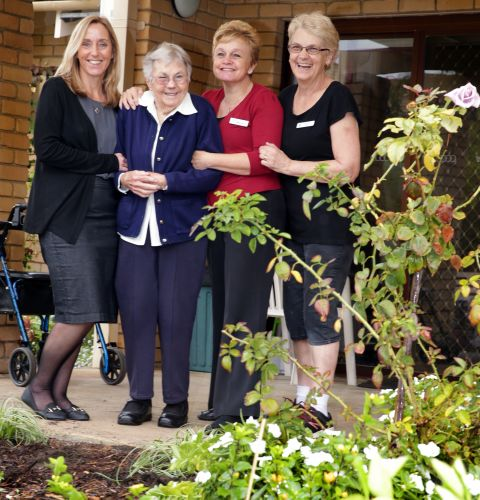 MercyVille service manager Alison Devonport, Sister Theresa Daly, lifestyle assistant Michelle Ahearn and carer Gill Chambers. Picture: Martin Kennealey www.communitypix.com.au d493260