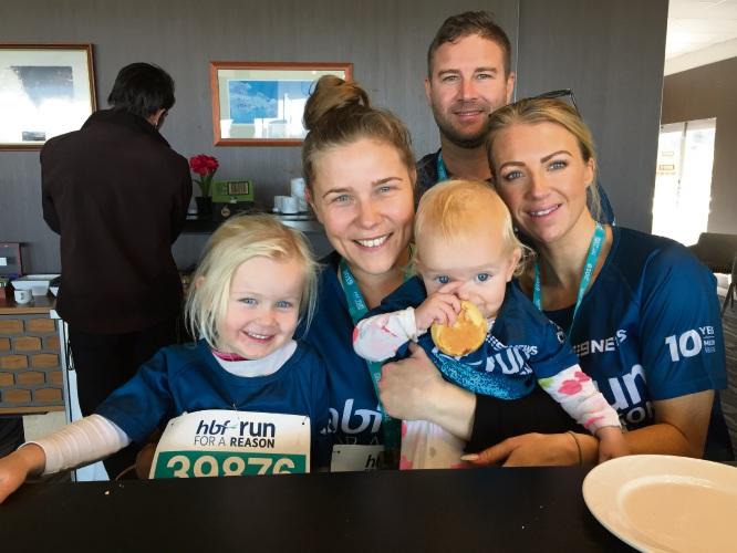 Amarri (3), Justine McFarlane, baby Kalea (1), and friends Lauren McCourts and Jason Marrs.