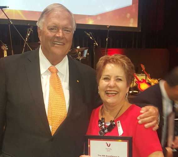 Cancer Council WA Volunteer Development Manager Jennifer Loveridge with WA Governer Kim Beazley. Picture: Supplied.