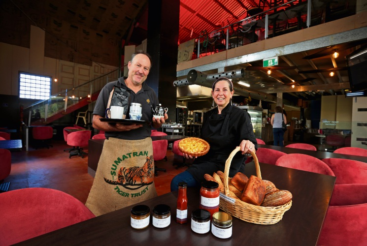 Dave Glossop and Sas Jacobs of Baskerville, seen here inside their new cafe called swan valley gourmet, with local products and food. Photo: David Baylis