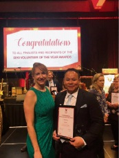 Office of Multicultural Interests Manager Kate Rowlands with Peter Le at the 2019 WA Volunteer of the Year Awards.