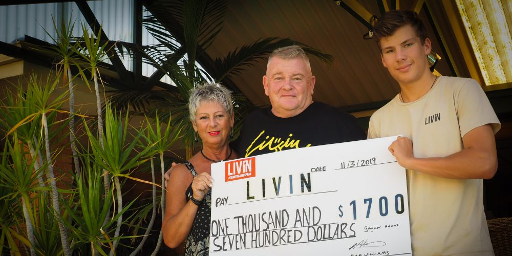 Gaynor and Wayne Adams with Sam Williams were able to donate $1700 to mental health charity LIVIN after an at-home auction. Picture: Mad Photography Perth