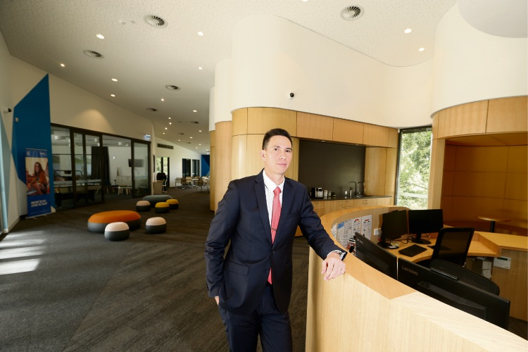 City Beach Residential College Manager Dr Chris Chuck inside the $6.44 million revamped administration area. Picture: Andrew Ritchie www.communitypix.com.au   d493348a