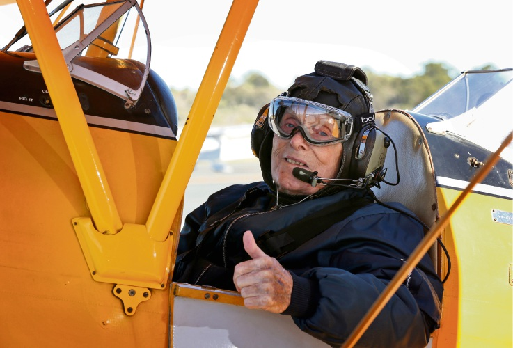 World War II pilot Arthur Cornwell (96) ahead of his Tiger Moth joy flight at the Royal Aero Club in Jandakot.  Picture: David Baylis. d493525