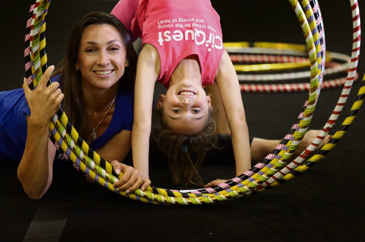 Natalia Rudman (CirQuest coach) with her daughter Mariia (7). Picture: Martin Kennealey www.communitypix.com.au d493464