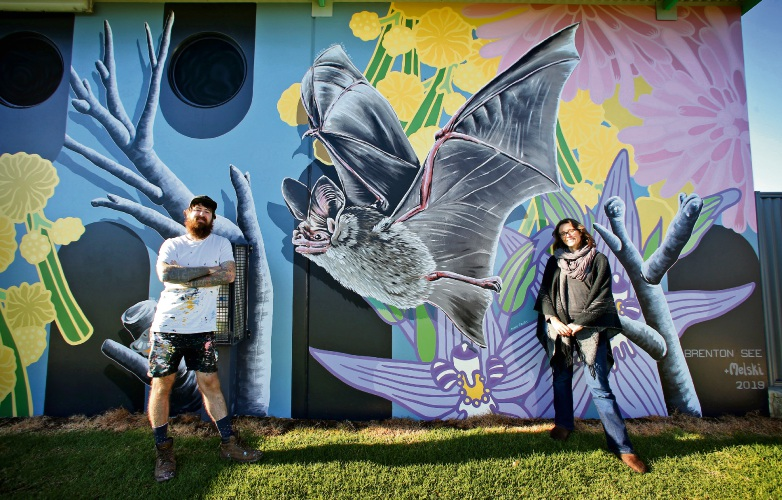 L-R: Artists Brenton See of Hilton and Mel McVee of Fremantle with their latest artwork at the Clifton Park Oval changerooms. Picture: David Baylis. d493524.