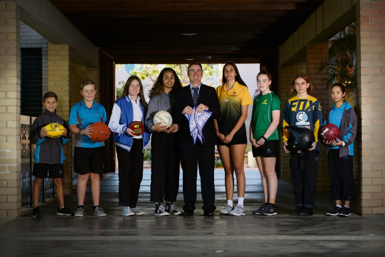 Fremantle College's young athletes with principal Myles Draper. Photo: Andrew Ritchie. d493435 communitypix.com.au.