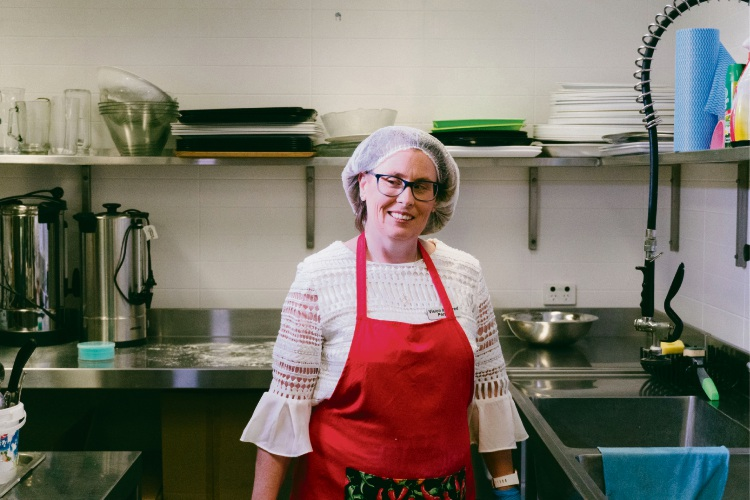 Bridie Cole at work in the kitchen at Niro's Cafe in Kidz Paradise, Carlisle.