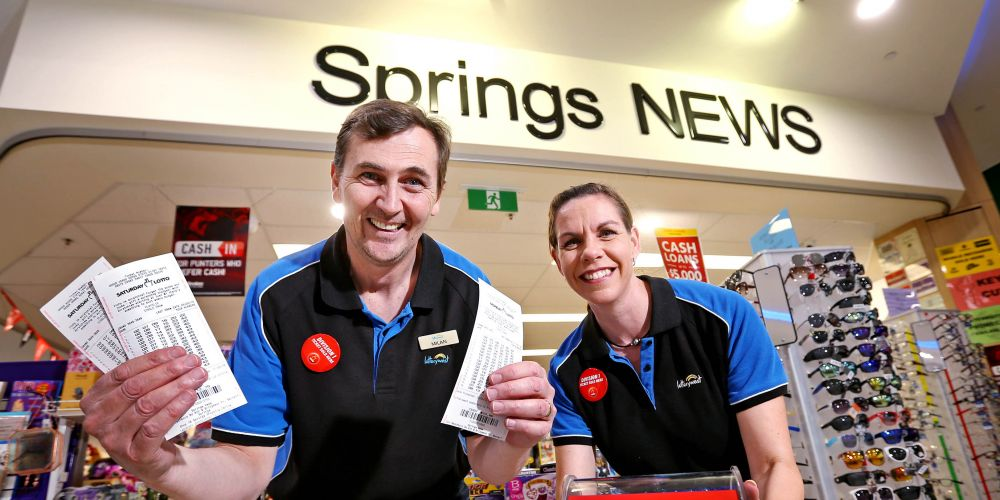 Milan and Denise Vuletich (Owners, Springs News at the Springs Shopping Centre in Bennett Springs).  Springs News has sold a Division 1 winning Lotto ticket, the third Division 1 win in just over 12 months.