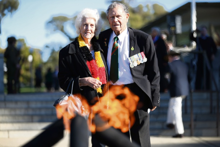 Korean War veteran Len Ogilvie and his wife Jean were at the service for Aboriginal veterans. Pic: Andrew Ritchie.
