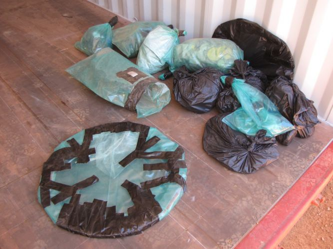 Gaskets containing asbestos wrapped for disposal. Picture: Supplied