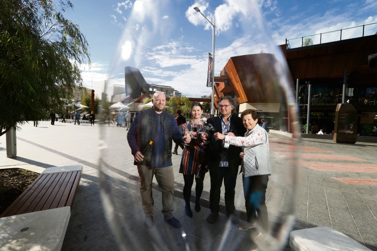 Alexi Christidis (Chalari Wines), Paige Stirton (CMS Events), Bruce Dukes (Domaine Naturaliste) and and Bernice O'Connell (Mandalay Road Wines) at Yagan Square Picture: Andrew Ritchie www.communitypix.com.au   d493640