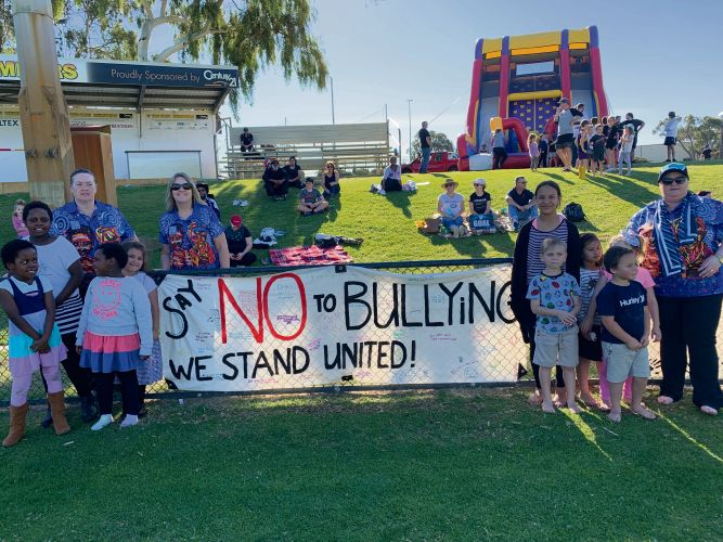 Coodanup College and Mandurah Primary School students and staff showed their support for Peel Thunder player Gerald Ugle.