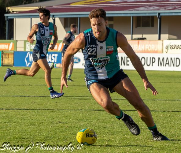 Peel Thunder's Griffin Logue only had eyes for the ball. Photos by Shazza J Photography.