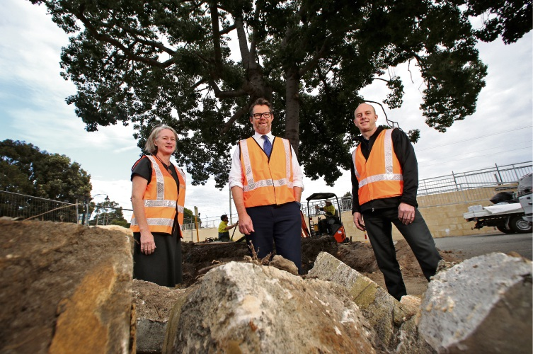 Cr Giorgia Johnson (City of Bayswater), Cr Dan Bull (Mayor, City of Bayswater) and Jonathan Shuker (Senior Project Manager, PTA). Picture: David Baylis www.communitypix.com.au d493619