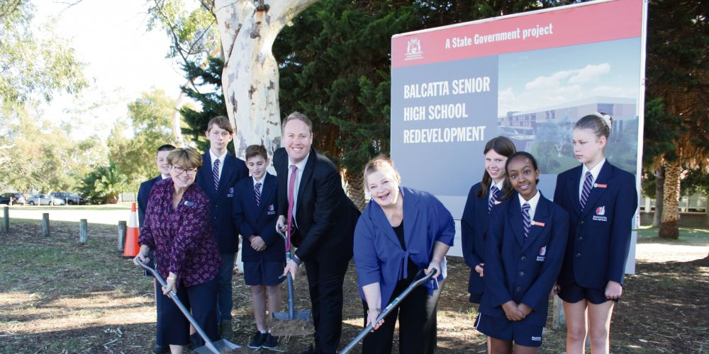 Balcatta SHS principal Helen Maitland, Balcatta MLA David Michael and Education Minister Sue Ellery with students as work starts on the $50m redevelopment.
