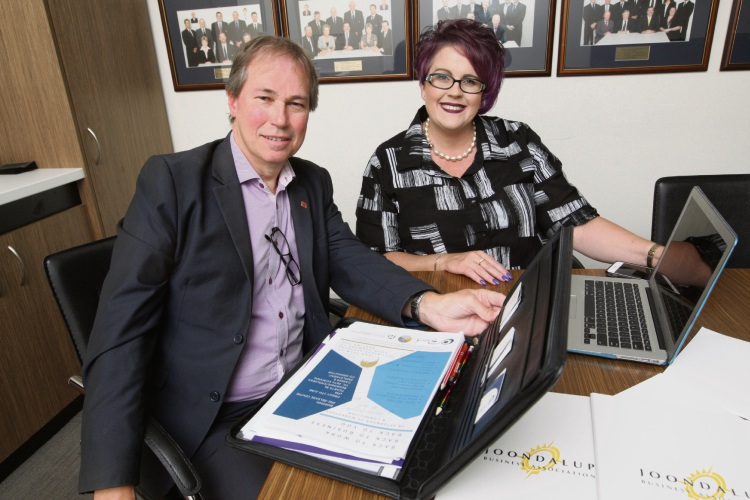 Joondalup Business Association president Max Wilson and Brand Etiquette founder Sharron Attwood are helping women to return to work. Picture: Bruce Hunt d493017