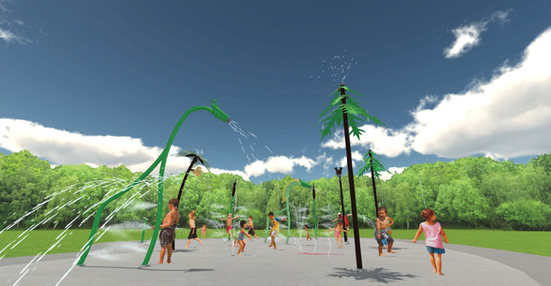 An artist's impression of the water play space at Kingsway Regional Sporting Complex.