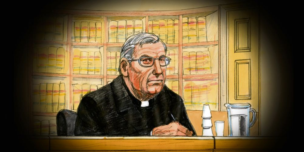 A court sketch of Cardinal George Pell at his appeal hearing in June. Photo: AAP