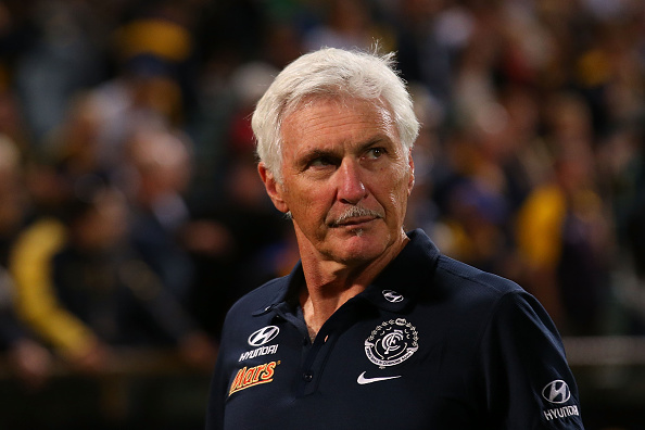 Former Blues head coach Michael Malthouse looks on after being defeated during the round two AFL match between the West Coast Eagles and the Carlton Blues. Picture: Paul Kane/Getty Images