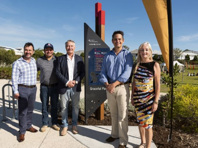 LandCorp chief executive Frank Marra, Danny Ford, Lendlease WA general manager development Anthony Rowbottam, Lands and Aboriginal Affairs Minister Ben Wyatt and Wanneroo Mayor Tracey Roberts.