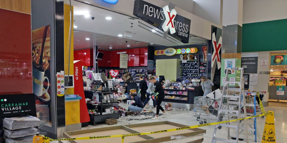 Thieves have used a ute to smash their way into the NewsXpress newsagency in Carramar. Pictures: Martin Kennealey