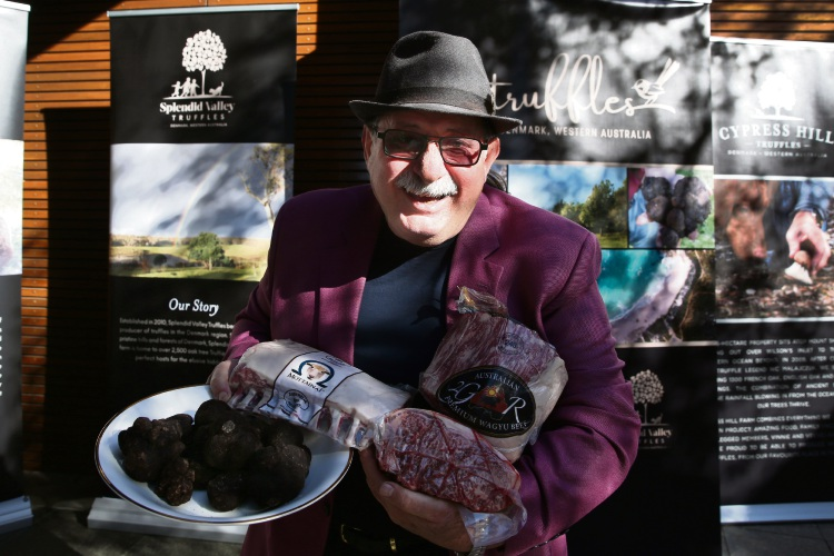 Vince Garreffa with truffles and meat that were auctioned. Picture: Andrew Ritchie www.communitypix.com.au   d493602