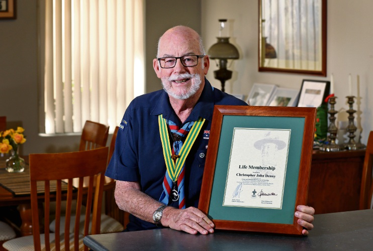 Chris Denny of Morley, seen here with his Scouts Life Membership certificate. Picture: David Baylis www.communitypix.com.au   d493731