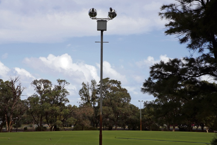 The current floodlights at Emerald Park, Edgewater, Picture: Martin Kennealey