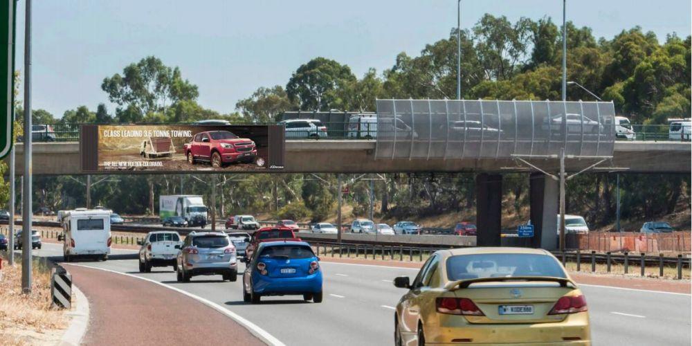 Artist impression of the digital billboard proposed for Mitchell Freeway in Osborne Park.