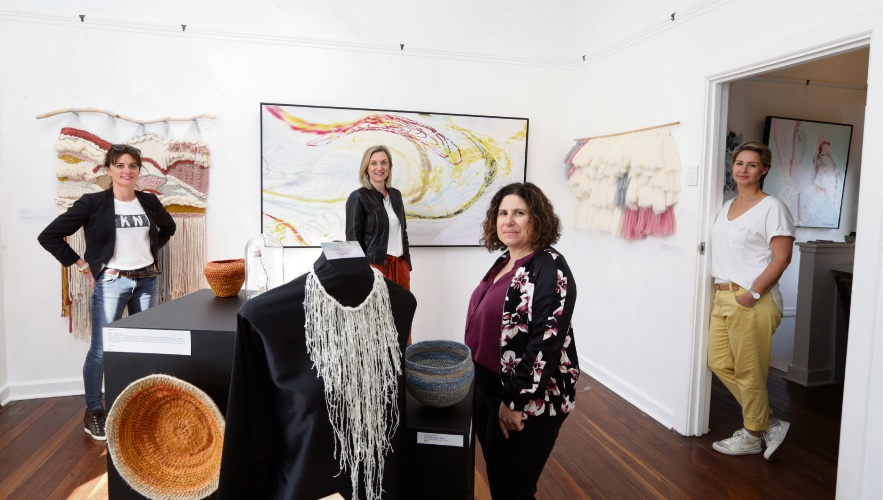 Katharyn Quinn (West Perth), Helen Crowley (Carine), Fiona Perrella (Karrinyup) and Rachel Coolican (Karrinyup) at the Fabrication exhibition. Photo: Martin Kennealey d493592