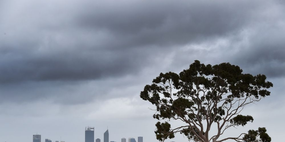 Storm clouds gather over Perth.