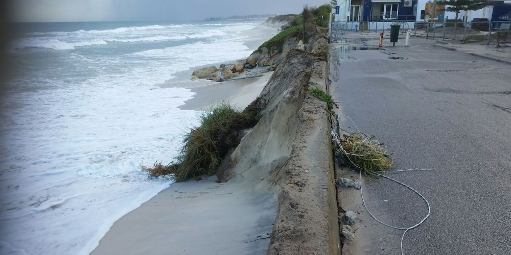 The sea is washing into dunes already heavily eroded last year.