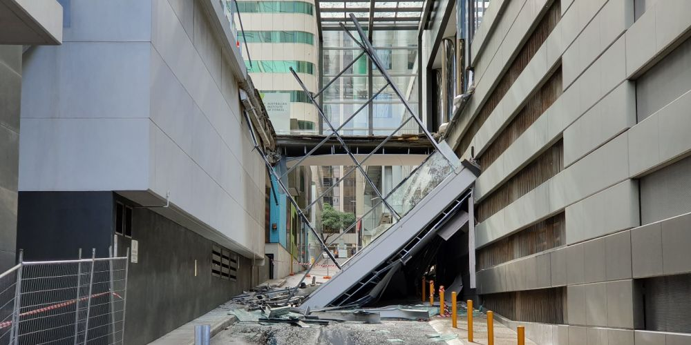 The collapsed walkway in Perth. Photo: David Baylis