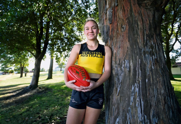 Jorja Elisseou has represented WA twice in three months for athletics (hurdles) and football. Picture: David Baylis