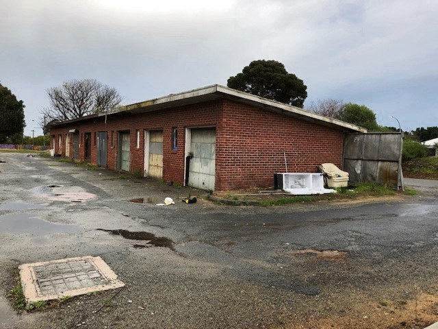 The so-called 'Medina sheds' behind shops on Pace Road.