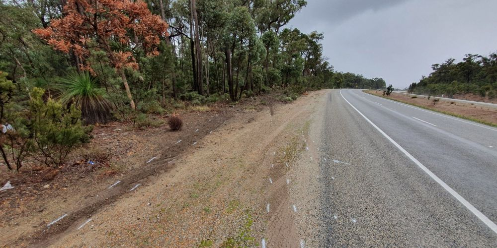 The spot where the car left the road in Sawyers Valley. Photo: David Baylis