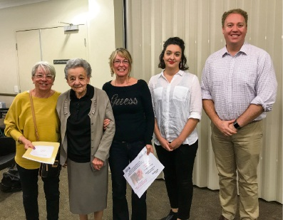 MYVISTA resident Ginevra Orsi with daughter Jeanette Brunini, volunteer Dee Hyde, Office of Multicultural Interests grant officer Sarah Vagliviello and Balcatta MLA David Michael.