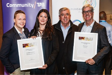 City of Stirling parks and sustainability manager Ian Hunter (far right) with winners from FORM Michal Zdanowicz and Lauren Formentin, and award sponsor Andrew Wynne from Woodlands.