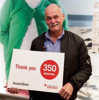 Geoff Atkinson has reached a milestone in blood donations. Picture: Martin Kennealey d493745