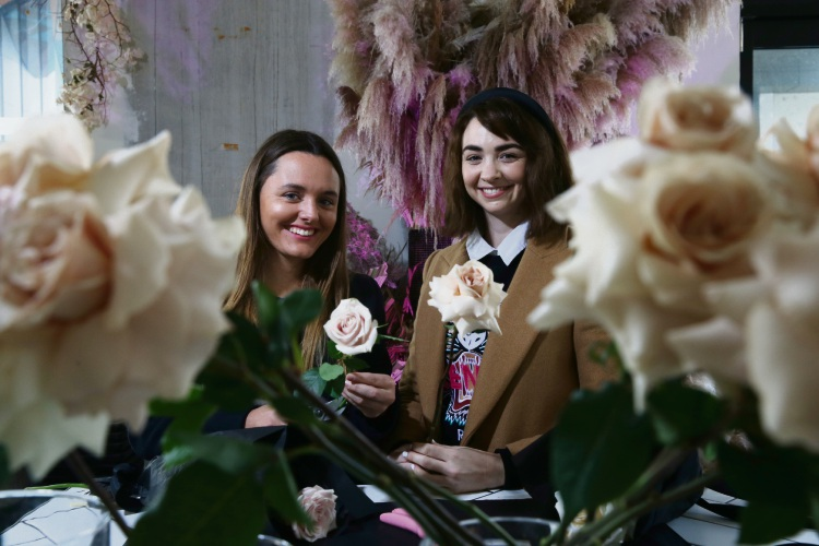 Georgia Brennan (left) and Kate Esslemont of Sir Botanical, a florist based at Liv Apartments' pop-up hub specialising in arrangements for custom weddings, events and next-day deliveries. Picture: Andrew Ritchie