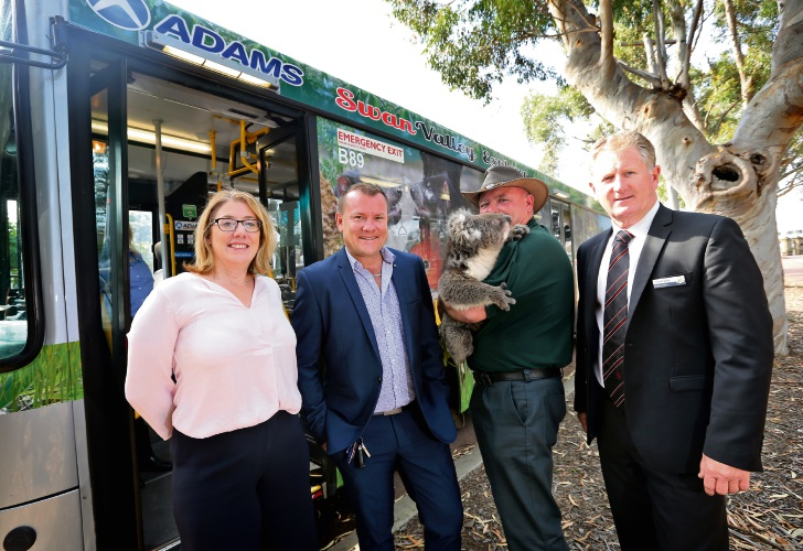 L-R: Transport Minister Rita Saffioti, Adam Barnard (Adams Perth), Steve Gillam from Caversham Wildlife Park with Karen (A 10 year old Victorian Koala) and Cr Kevin Bailey (Deputy Mayor, City of Swan). Photo: David Baylis