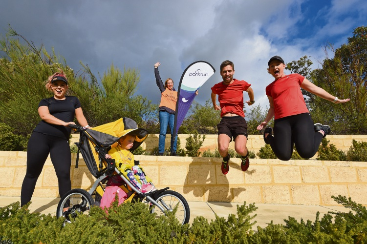 Calleya parkrunners Breeahn Carter with Matilda 2, Julie Carter, Jordan Grooby & Lauren Holland. Photo: Jon Hewson. d493884 communitypix.com.au.