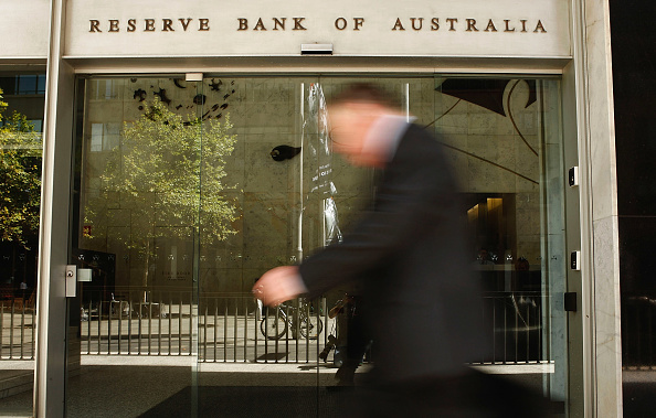 A man walks past the RBA sign in Sydney. Picture: Brendon Thorne/Getty Images